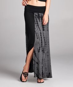 Love this Black & Charcoal Tie-Dye Maxi Skirt on #zulily! #zulilyfinds