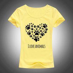 I LOVE ANIMALS PAW PRINT T-SHIRT