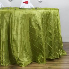 "132"" Sage Green Round Pintuck Tablecloth"