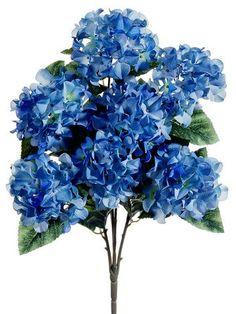"Hydrangea Silk Flowers Bush in Two Tone Blue<br>25"" Tall"