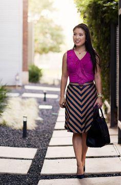 the limited fuschia ruffle tank, ann taylor chevron regent stripe skirt, loft petra navy suede pumps, celine mini luggage tote | cute & little | cuteandlittle.com | petite fashion blog by kileencheng, via Flickr