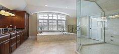 Spacious master bathroom design with oversized tub and glass shower. Check out 40 more luxury bathroom ideas at Luxury Master Bathrooms, Grey Bathrooms, Modern Bathroom, Small Bathroom, Bathroom Ideas, Bathroom Images, Bathroom Designs, Bathroom Remodeling, Beautiful Bathrooms