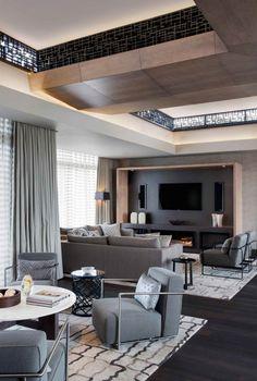 Fantastic Penthouse Design with the Best Furniture: Modern Elegant Interior Grey Sofa Subtle Opulence Penthouse ~ SQUAR ESTATE Furniture Inspiration
