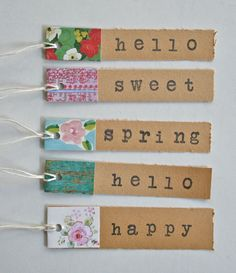 use scraps on these simple tags, then label with tiny alphabet via Michelle Jackson of Vintage Street Market