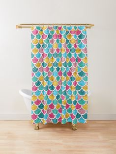 "Color scallop design in shades of pink, blue, green, brown"" by Pink Blue, Blue Green, Aqua, Teal, Turquoise, Mermaid Scales, Fish Scales, Curtain Accessories, Custom Shower Curtains"