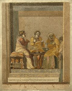 Advice of the sorceress. Mosaic from Pompeii (so-called Villa of Cicero). Signature above: Dioskourides of Samos. 150—125 B.C. Inv. No. 9987. Naples, National Archaeological Museum.