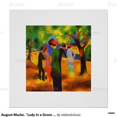 "Valentine's Day Gift Fine Art Print. Artist: August Macke. ""Lady in a Green Jacket"", Oil Painting, circa 1913. Matching cards and other products available in the Holidays / Valentine's Day Category of the oldandclassic store at zazzle.com"