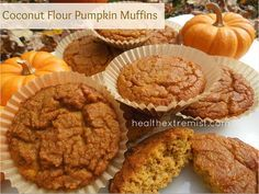 Paleo Pumpkin Muffins – Made with Coconut Flour (Note: For low-carb, sub your favorite sweetener)