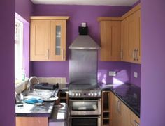 Kitchen with Purple  wall paint