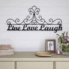 FATS Life Evey Moment Laugh Every Day Love Beyond Words Vintage Style Hanger