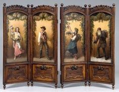 Gorgeous Victorian screen with carving and four paintings of figures depicting the four seasons.