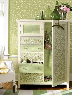 Here is another great idea for your furniture makeover – wallpaper. If you have old pieces of furniture and you don't have an idea what to do with it, we Refurbished Furniture, Paint Furniture, Repurposed Furniture, Shabby Chic Furniture, Furniture Makeover, Furniture Decor, Bedroom Furniture, Armoire Makeover, Small Space Storage
