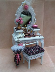 Dollhouse Dressing Table White Rococo with by worldinminiatureuk