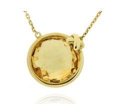 LACE Ref: 38166 Gargantilla realizada en oro amarilllo, como motivo central lleva un cuarzo citrino enmarcado por un pequeño bisel con adorno.