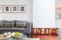Clerkenwell - sitting room and neon signs