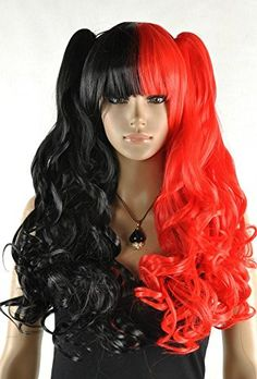 Diy Lady's Long Curly 2 Ponytails Red and Black Heat-resi…
