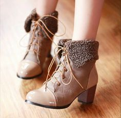 Plus size 34-46 OL elegant chunky high heel lace up ankle boots  winter warm 2013 ladies booties SHB32004