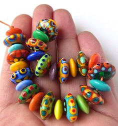Happy Disks Handmade Lampwork Glass Beads 27 by AnnesGlassJewels