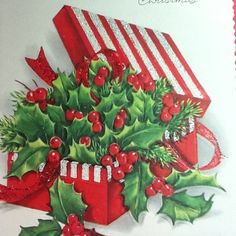 vintage ~ box of holly card
