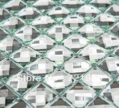 mosaic promotion online shopping promotional white glass mosaic kitchen mirrored wall tile stickers pyramid diamond mosaic art
