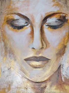 Marion Nap Gold2 | Marion Nap – Art Couture Watercolor Face, Acrylic Painting Techniques, Painting People, Portrait Art, Abstract Portrait, Figurative Art, Painting & Drawing, Figure Painting, Art Inspo