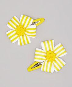 Another great find on #zulily! Yellow Stripe Flower Snap Clip Set #zulilyfinds