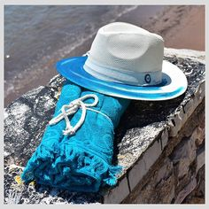 Aqua-holic 💦💦 . #beachready #handpaintedhat #beachtowel #madeingreece #handmadeingreece #summeringreece #styleversa Painted Hats, Hand Painted, Panama Hat, Aqua, Fashion, Water, Moda, La Mode, Fasion