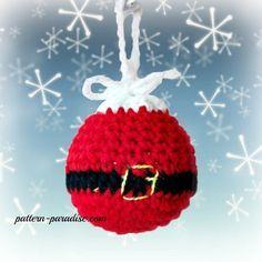 Santa Crochet Christmas Tree Ornaments by Pattern-Paradise.com