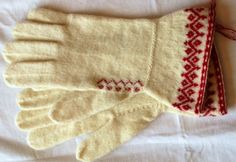 Delicate red and white gloves