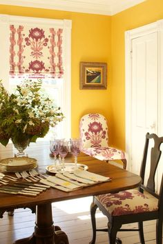 Room of the Day ~ egg yolk yellow walls contrasts with floral Quadrille fabric ~ Denemede design 4.18.2015