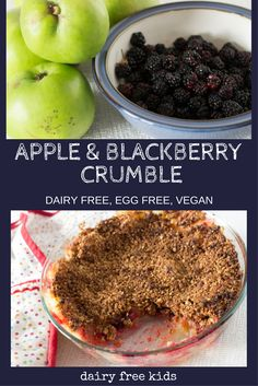 Delicious Crumble made with seasonal Blackberries and apples. Perfect recipe for an autumn dessert. Easy to make, Dairy Free, Egg Free and Vegan. Irish Recipes, Apple Recipes, Fall Recipes, Blackberry Crumble, Crumble Recipe, Cooked Apples, Delicious Vegan Recipes, Egg Free, Kid Friendly Meals