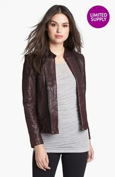 NAS: Short jacket, long knit shirt: June Double Zip Leather Moto Jacket | Nordstrom