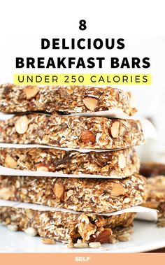 Easy-to-make breakfast bars that come in at fewer than 250 calories each. They're a cinch to prepare ahead of time so when you bounce of bed each morning, you know exactly what tastiness is in store.