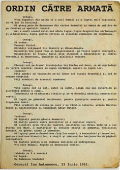 Antonescu's order of June 1941 committing Romania to invade the Soviet Union and retake Bessarabia and Northern Bukovina Romania People, History Facts, World War Two, Direction, Troops, Nostalgia, Clip Art, Army, Danube River