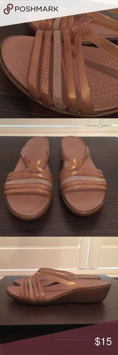 {Shoe Sale} Crocs Wedges Not your mother's crocs! These comfy and somehow still elegant beauties have only been worn once! Perfect for the office (keep your feet pain-free while looking professional!) CROCS Shoes Wedges