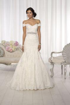 2015 Off The Shoulder Column Wedding Dress Tulle With Applique And Sash USD 289.99 EPPPFK6LZL - ElleProm.com