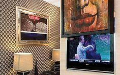 Flat screen TV: Remote-controlled Metamorphic framed canvases by  Atlantis; the Picture Lift, from Chaplins