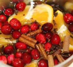 Stove top Christmas scent! One batch stays good for weeks, you just add water and heat it on low whenever you want it.    Holiday Stove Top Potpourri Mix:    1 whole orange or just the orange peel  1/2 cup cranberries  1 Tbsp. whole cloves  3 sticks of cinnamon or a small handful of small pieces of cinnamon  a bit of grated nutmeg if desired    Put all the ingredients into a saucepan. Fill pan with water. Place on the stove on the smallest burner, on the lowest setting. Refill water as…