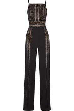 Elie Saab - Paneled Cady And Open-knit Jumpsuit - SALE20 at Checkout for an extra 20% off