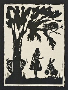 Alice in Wonderland  HandCut Silhouette Papercut by tinatarnoff, $85.00