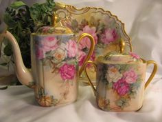 Absolutely Stunning PINK BURGUNDY YELLOW ROSES Antique Limoges France Hand Painted Coffee or Tea Pot Covered Sugar Tea Caddy La Porcelaine Limousine PL France circa 1905 – 1930