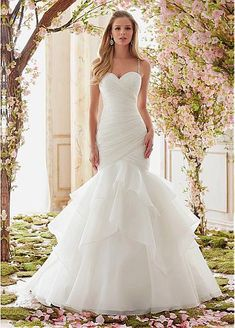 Gorgeous Organza Spaghetti Straps Neckline Mermaid Wedding Dresses With Beadings
