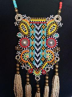 Tribal Beaded Bib Necklace with Tassels Boho by perlinibella