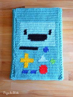 Crochet BMO Tablet Sleeve - free Adventure Time inspired crochet pattern from Pops de Milk