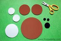 Como hacer un osito de circulos con cartulina, goma eva o fieltro