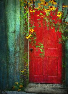 Does life really get any better than this...  Old door, red, yellow, green, peeling paint, floral...I <3 <3 <3 this!!!