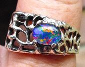 Mens ring. Vivid Opal ring. Genuine Australian Opal.8x6mm Gemstone.Sterling Silver designer setting.