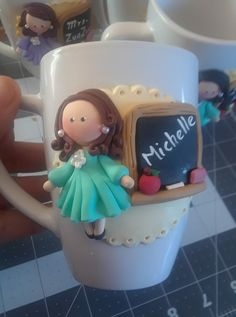 Fimo Clay, Polymer Clay Projects, Polymer Clay Creations, Polymer Clay Art, Porcelain Clay, Cold Porcelain, Cute Mug, Cute Coffee Cups, Mug Crafts