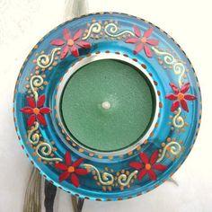 Hand painted glass tealight holder