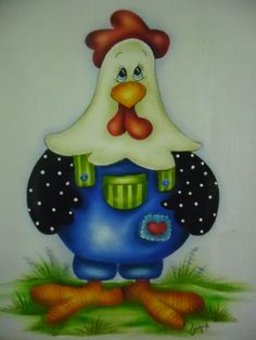 Galo charmoso! China Painting, Tole Painting, Fabric Painting, Chicken Crafts, Chicken Art, Chicken Quilt, Chicken Pictures, Homemade Quilts, Chickens And Roosters